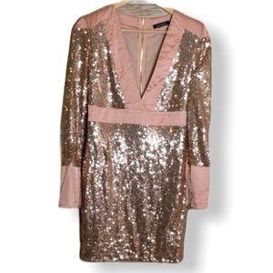Sequin Blush Pink Cocktail Plunging V-neck Dress